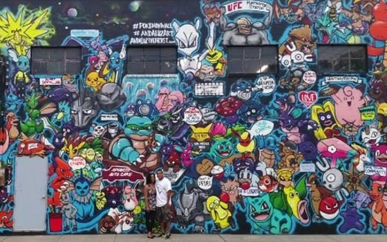 Dibuja a los Pókemon En un enorme mural….a todos