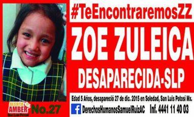 Papá de Zoé, sospechoso en la desaparición de la niña