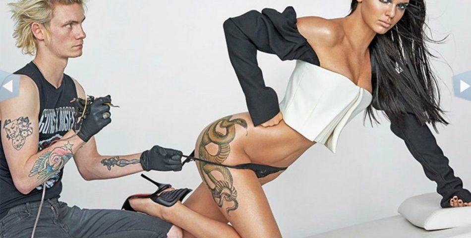 Kendall Jenner se 'tatúa' el trasero para una revista