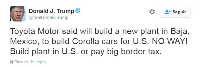 Ahora Trump amenaza a Toyota para que no instale nueva planta en México