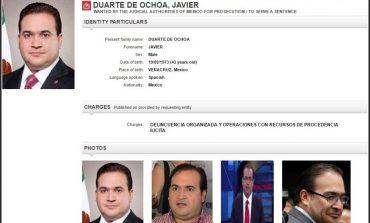 Interpol se suma a búsqueda de Javier Duarte; emite ficha roja