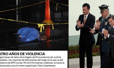 En 50 meses de Peña Nieto, los homicidios escalan a 90 mil 694