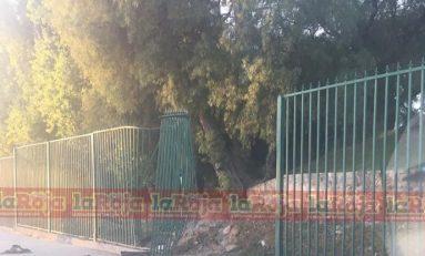 Dañan enrejado del Parque Tangamanga, un vehículo se estampó