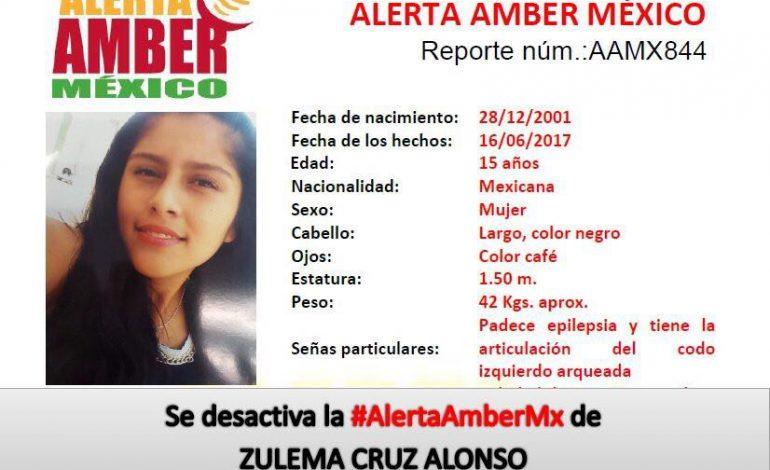 Desactivan Alerta Amber, Zulema Cruz ya fue localizada
