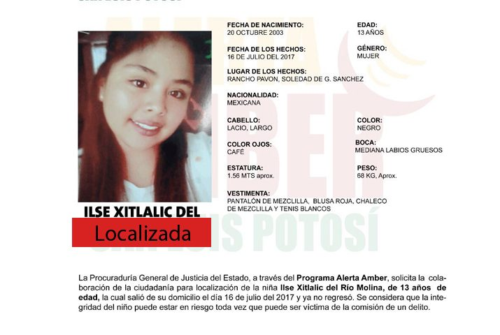 Desactivan Alerta Amber para localizar a jovencita de 13 años