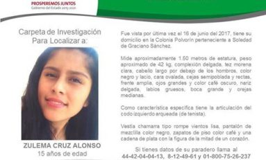 Desaparece Zulema Cruz Alonso de 15 años