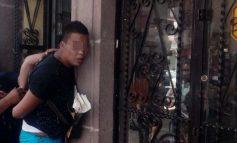 Delincuente asaltaba a transeúntes en primer cuadro de la ciudad