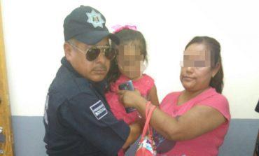 Menor de edad extraviada en la Zona Centro fue auxiliada para reencontrarse con su su mamá