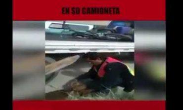 Arrastraba a perro desde camioneta, vecinos de La Libertad lograron detenerlo