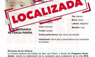 Confirmado la menor encontrada es Mya Fernanda, los padres vienen de Rioverde a la capital potosina