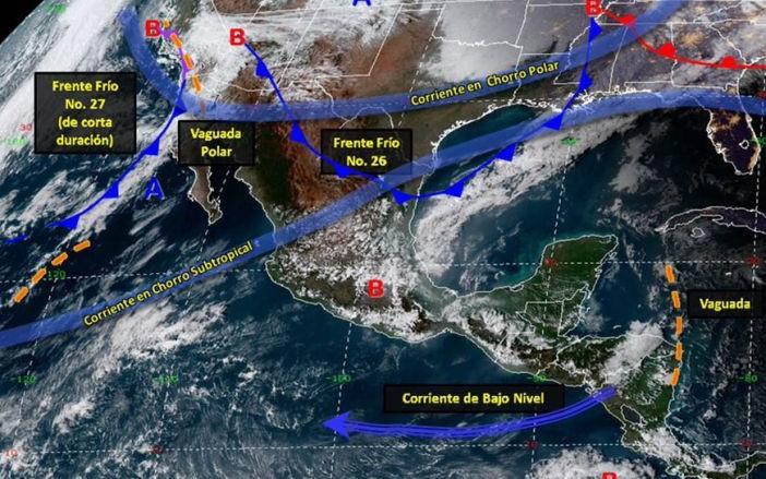 Frente frío número 26 mantendrá bajas temperaturas y posibles lluvias