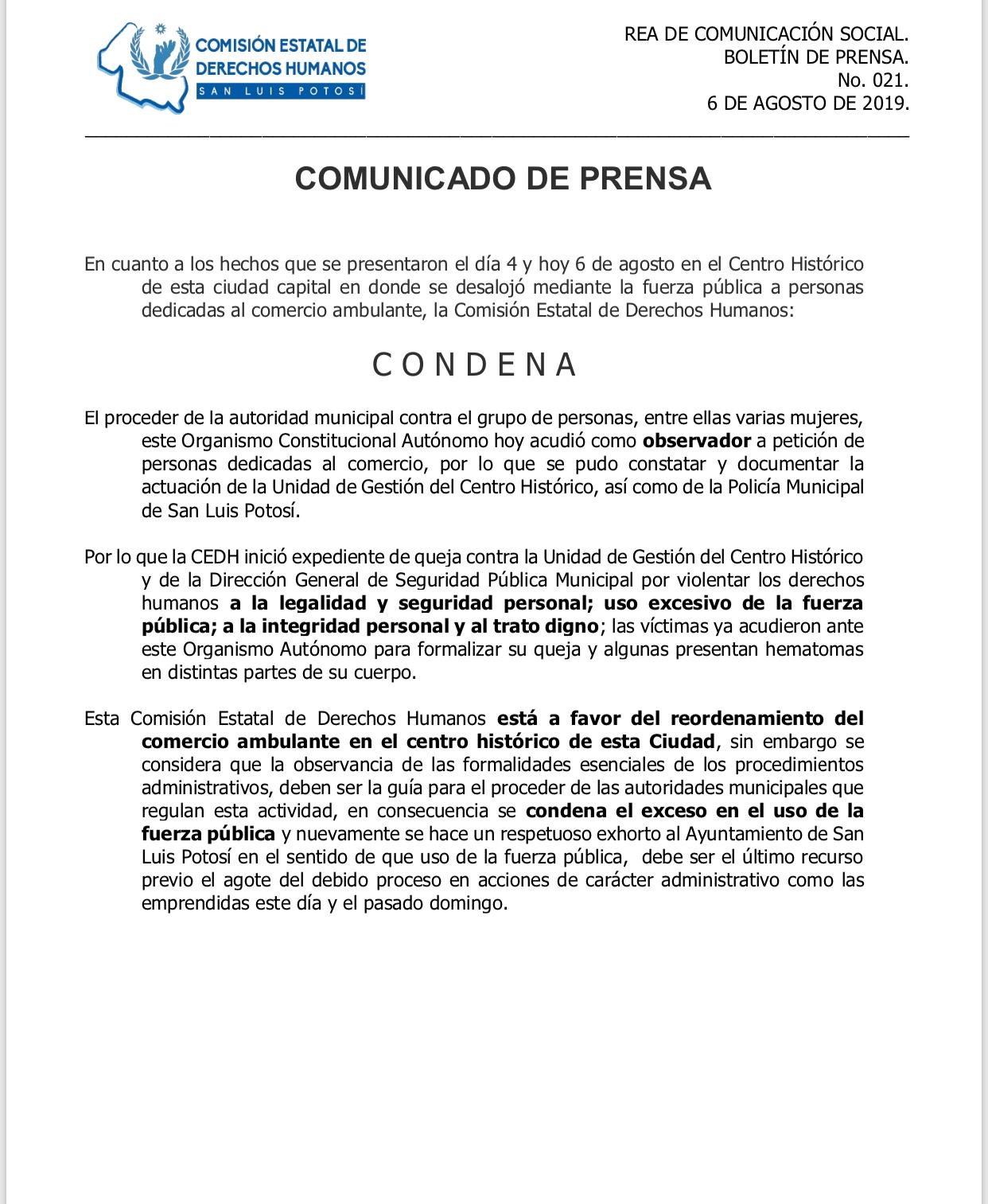 ANUNCIA LA CEDH APERTURA DE EXPEDIENTE DE QUEJA POR ACTUACIÓN INDEBIDA EN EL DESALOJO DE COMERCIANTES