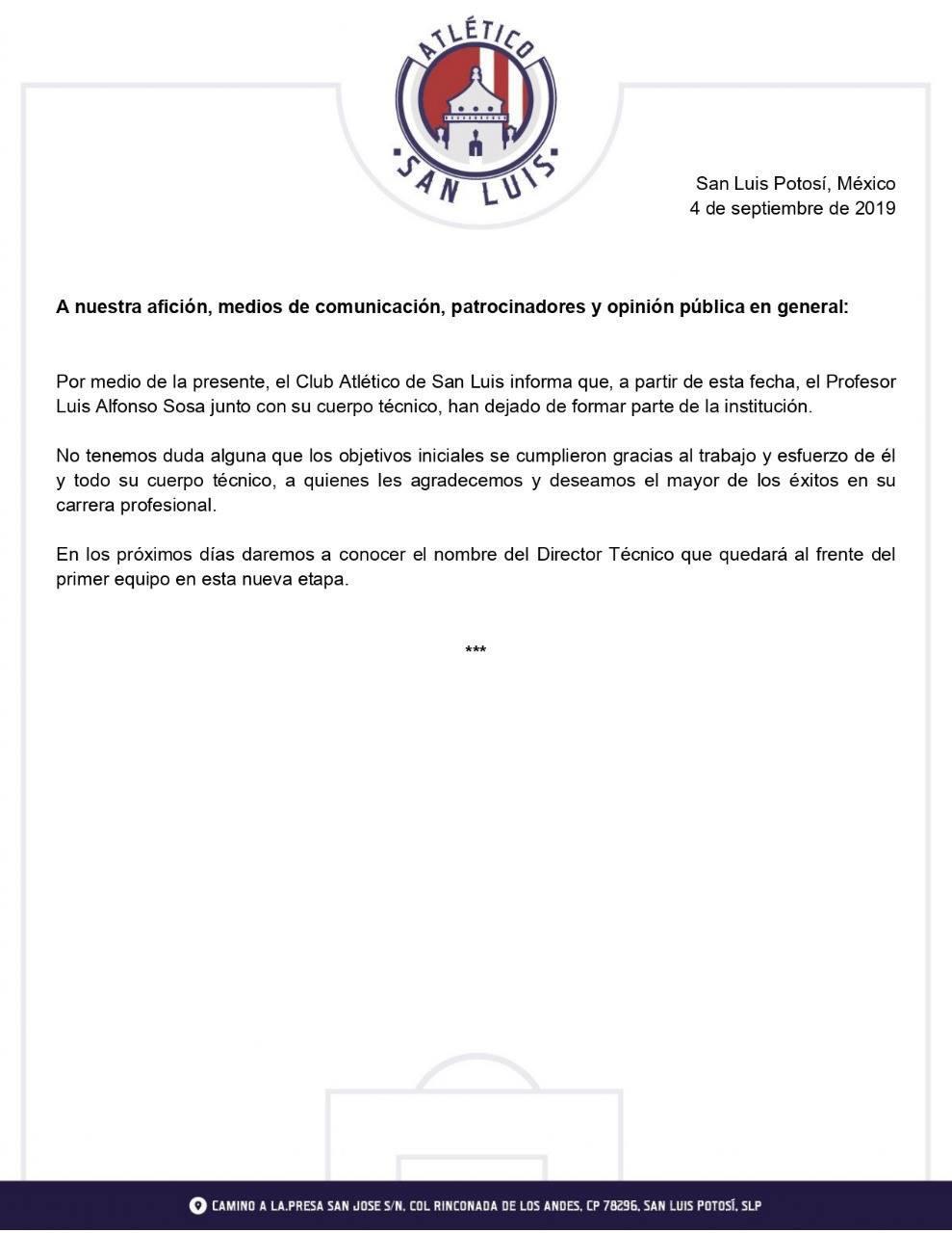 ALFONSO SOSA DEJA EL ATLÉTICO DE SAN LUIS