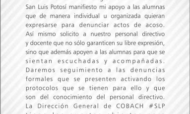 ORDENAN RETIRAR CARTELES ANTE SEÑALAMIENTOS DE ACOSO SEXUAL EN EL COBACH #26