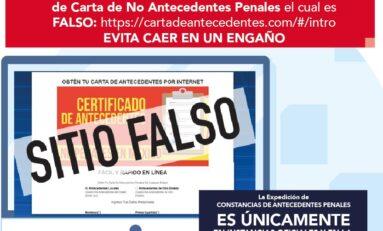 Alertan por  página falsa que oferta cartas de no antecedentes penales